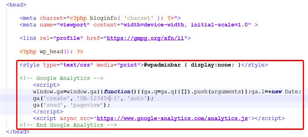 Вставка кода в header.php